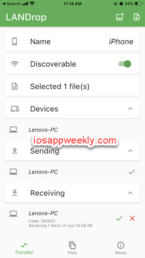 send, receive files between iphone and PC using LANDrop app