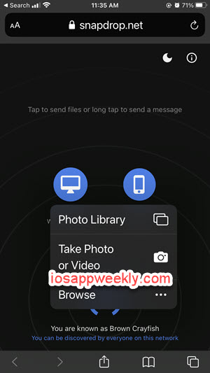 snapdrop send photos videos files from iphone to windows pc, mac, android