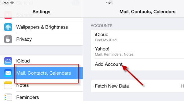add email account on iPad Air