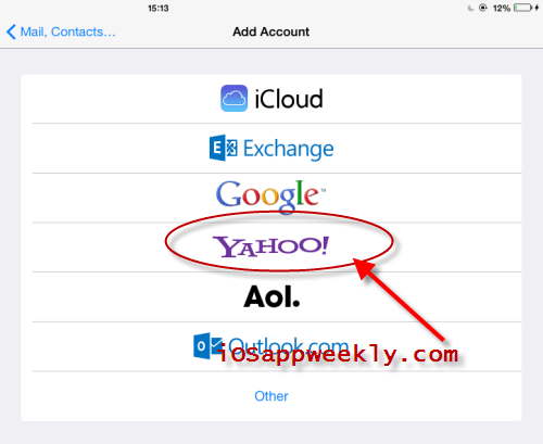 add yahoo mail account to ipad