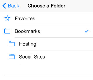 choose bookmark folder on iphone