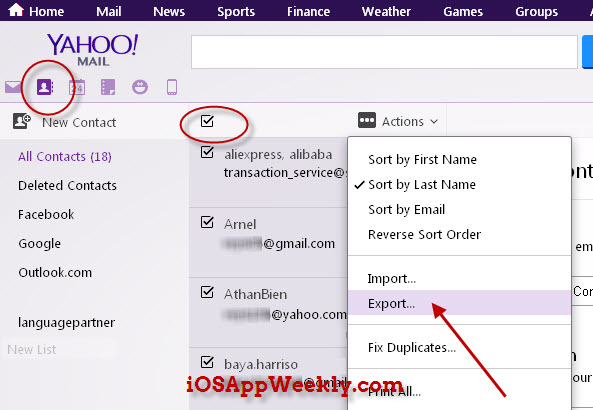 export contacts from yahoo