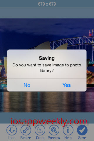 save cropped image to photo library on ipad iphone