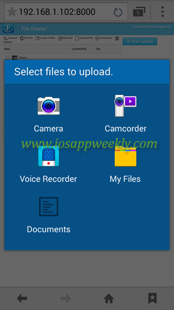 select files to upload from samsung mobile to iphone over wifi using filemaster