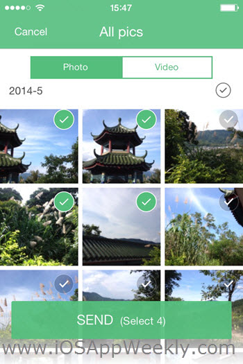 select photos videos to send with swift transfer app on iphone