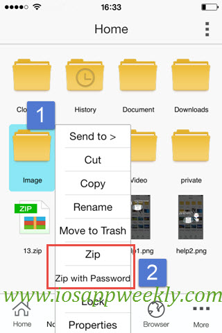 zip files or folder on iphone