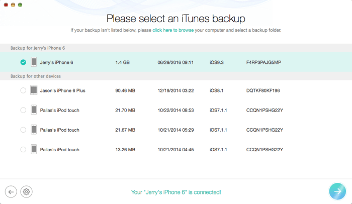 Pick up one related iTunes backup