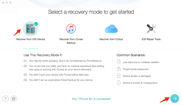 Recover old messages from iOS device directly