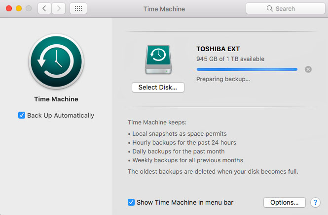 Time Machine Stuck on Preparing Backup in High Sierra