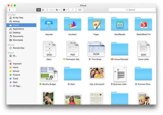 Finder Cloud Drive Apple Yosemite