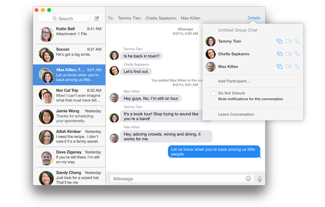Messages Apple Yosemite