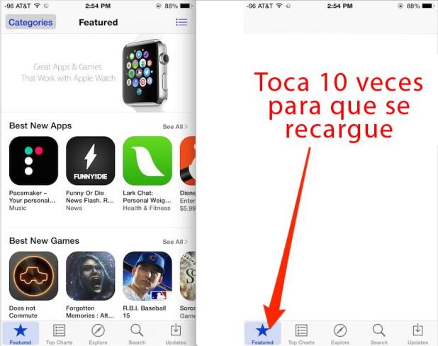 App Store truco reiniciar