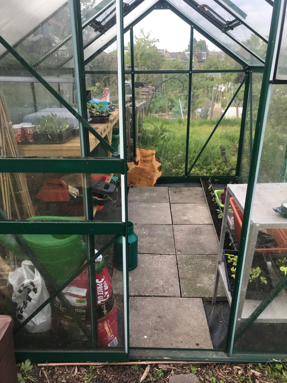 Greenhouse planting table in situ