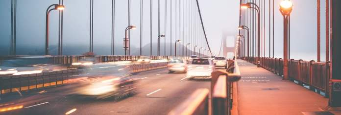 Traffic moving over the Golden Gate Bridge