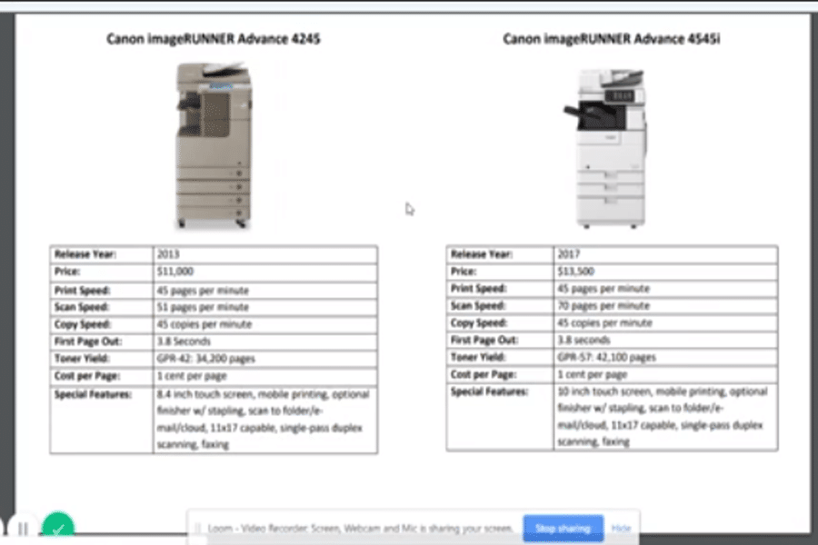 Comparable Features of Canon ImageRunner Advance 4245 and