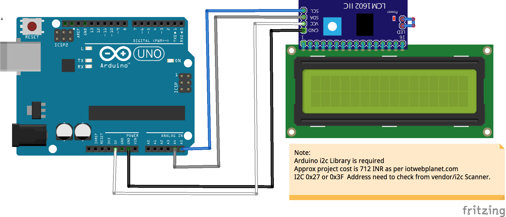 Arduino Display Data Using IIC LCD Module - IOT WEBPLANET