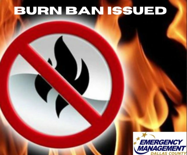 Burn ban in effect for all Dallas County effective now 2