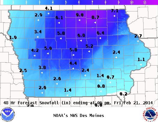 Iowa 48 Hour Snowfall Predictions