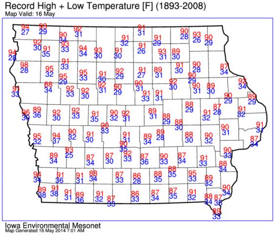 Iowa Record Temperatures