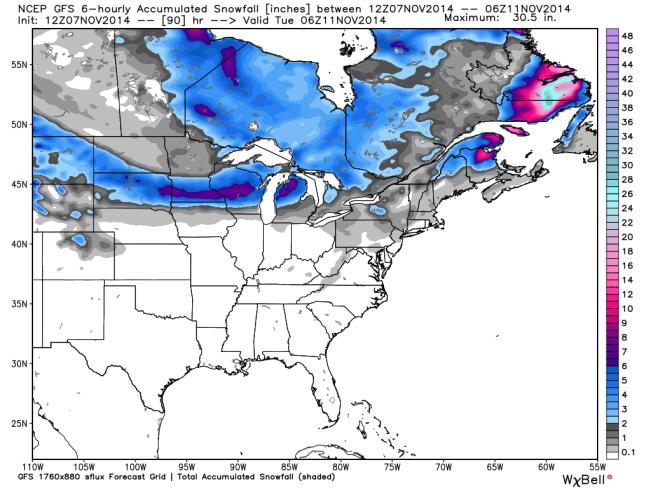 GFS 12z Total Snowfall