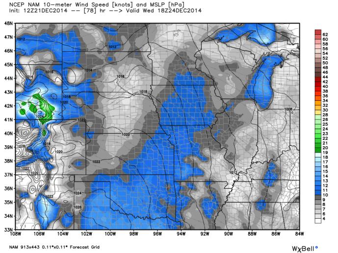 NAM Midwest Wind Speeds Wednesday