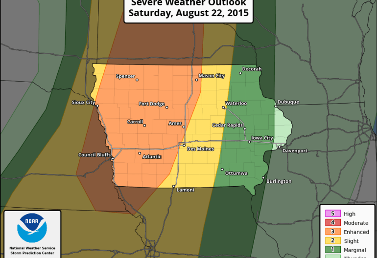 Severe Weather Outlook Iowa August 22nd