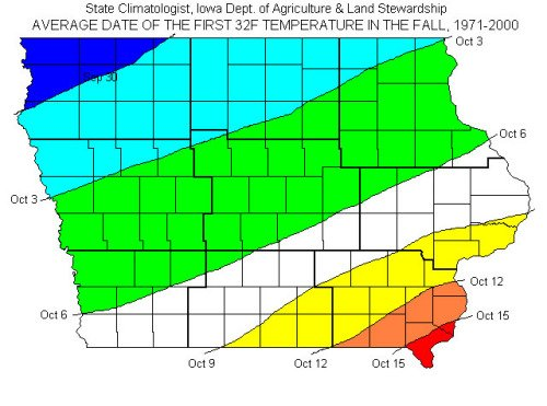 Iowa First Frost Date