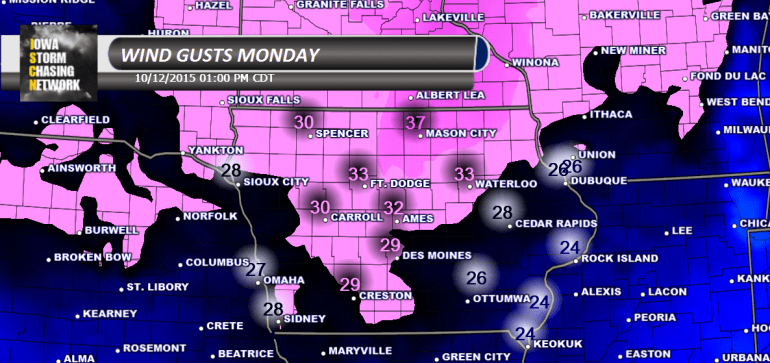 Iowa Wind Gusts Monday
