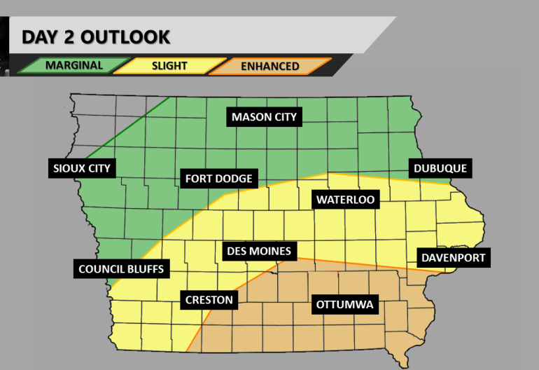 Iowa Day 2 Severe Weather Outlook
