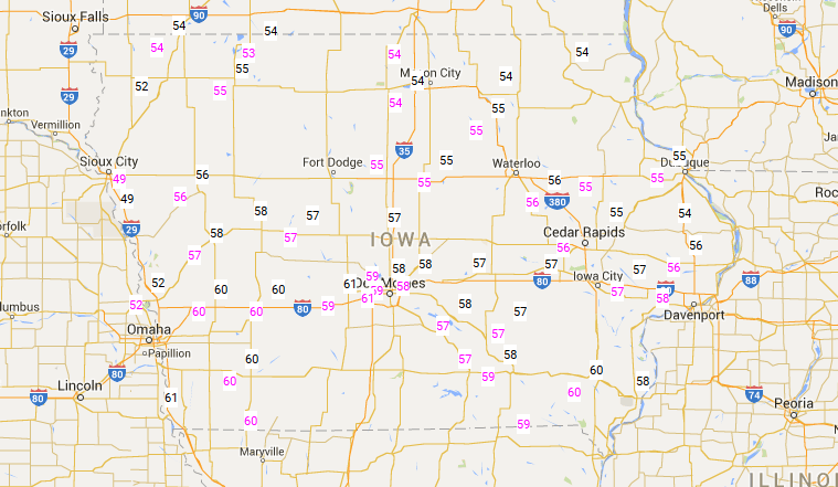 Iowa Road Temperatures