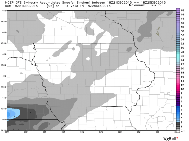 GFS Iowa Snowfall Forecast Christmas Eve