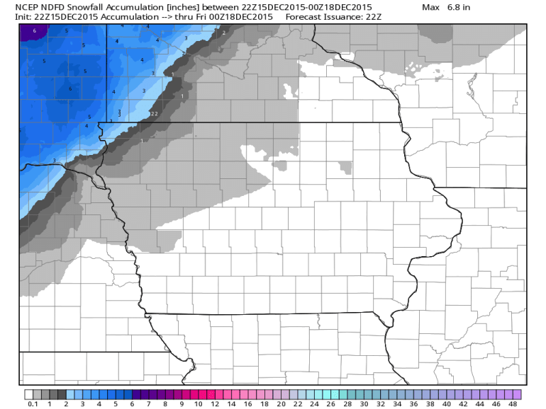 Iowa Forecast Snowfall Totals December 15th 2015