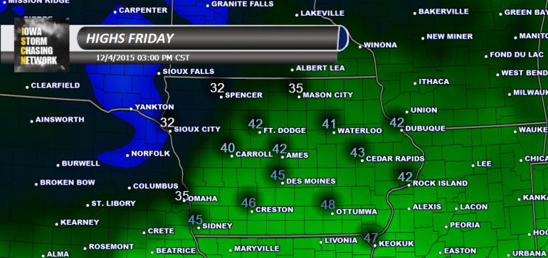 Iowa High Temperatures Friday