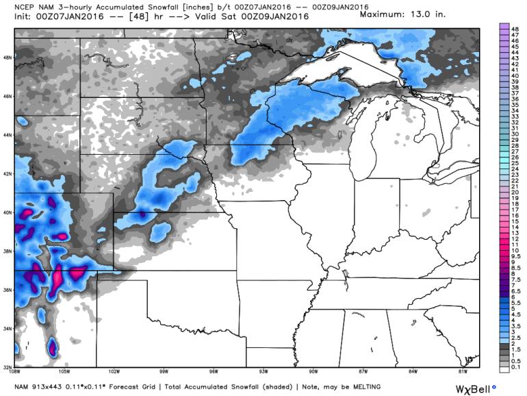 Iowa NAM Snowfall Forecast