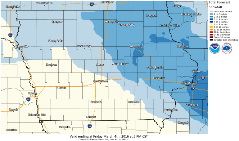 Iowa Snowfall Forecast
