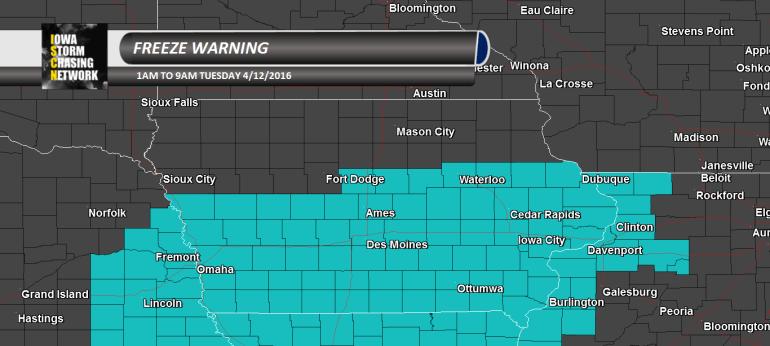 Iowa Freeze Warning