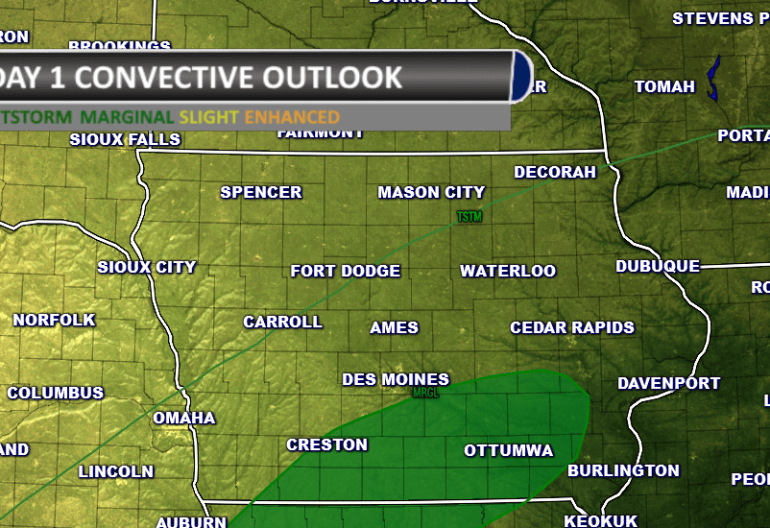 Day one severe weather convective outlook Iowa