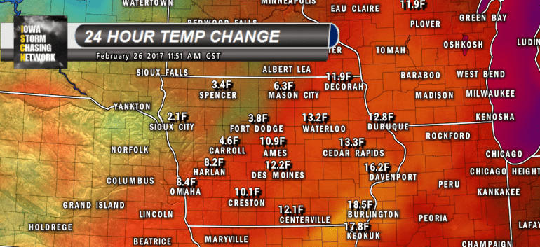 Iowa Temperatures Warmer