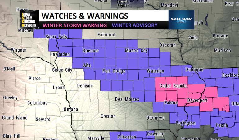 Winter Storm Watches and warnings in Iowa