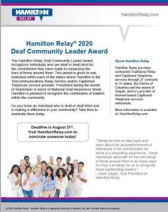 Hamilton Relay Deaf Community Leader Award Nomination Form