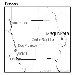 location of Maquoketa, Iowa in Clinton County