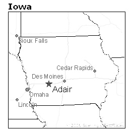 location of Adair, Iowa