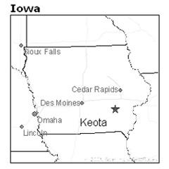 location of Keota, Iowa