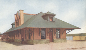 postcard view of Davenport train station