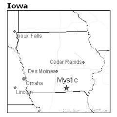 location of Mystic, Iowa