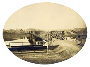 Looking east from the Walnut Street Bridge, 1866 (from bridgehunter.com)