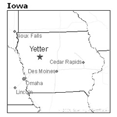 location of Yetter, Iowa