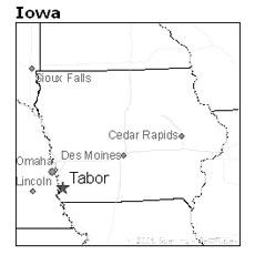 location of Tabor, Iowa