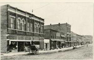 Street view of early Waukon, Iowa (courtesy)