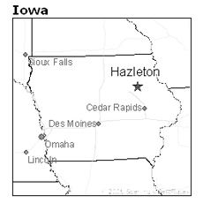 location of Hazelton, Iowa